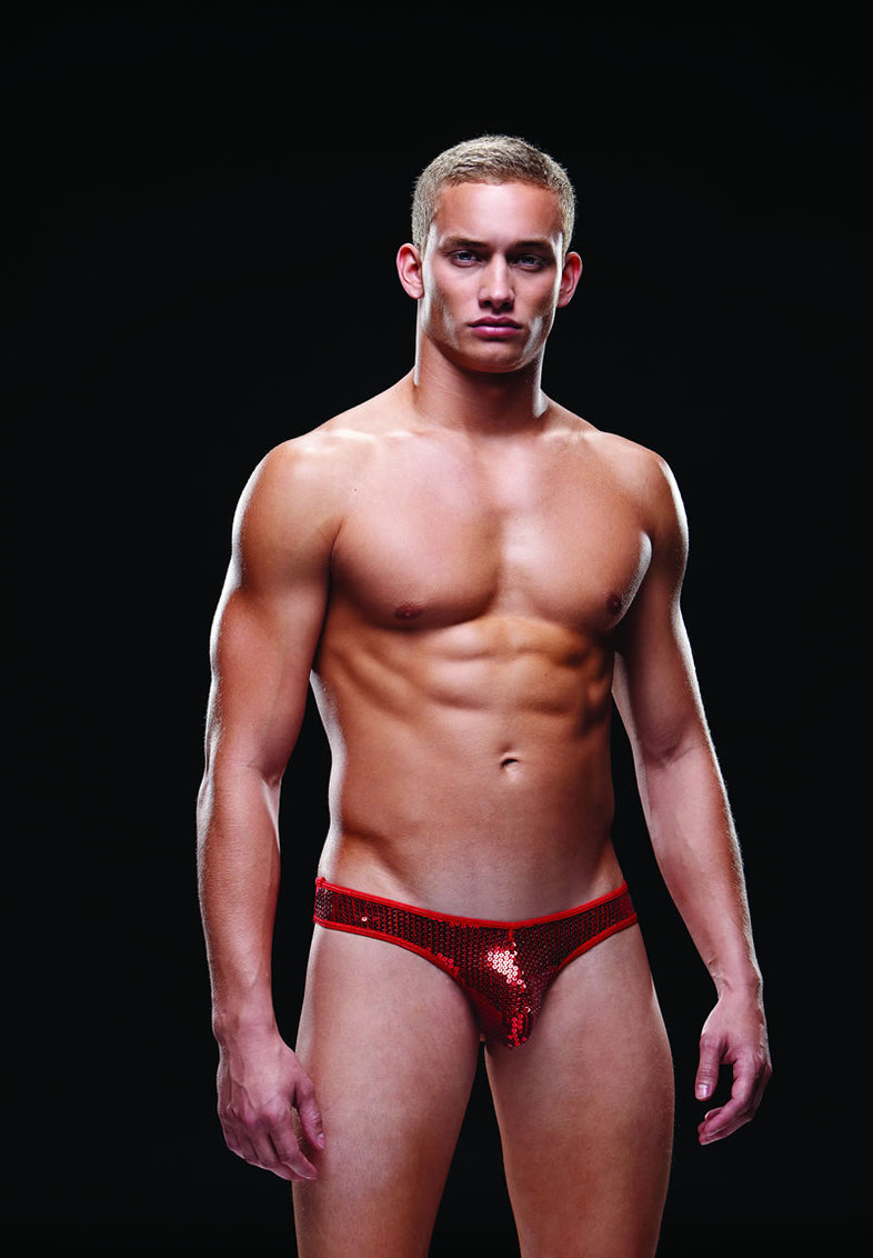 Sequin Low Rise Thong L/xl Red (disc)