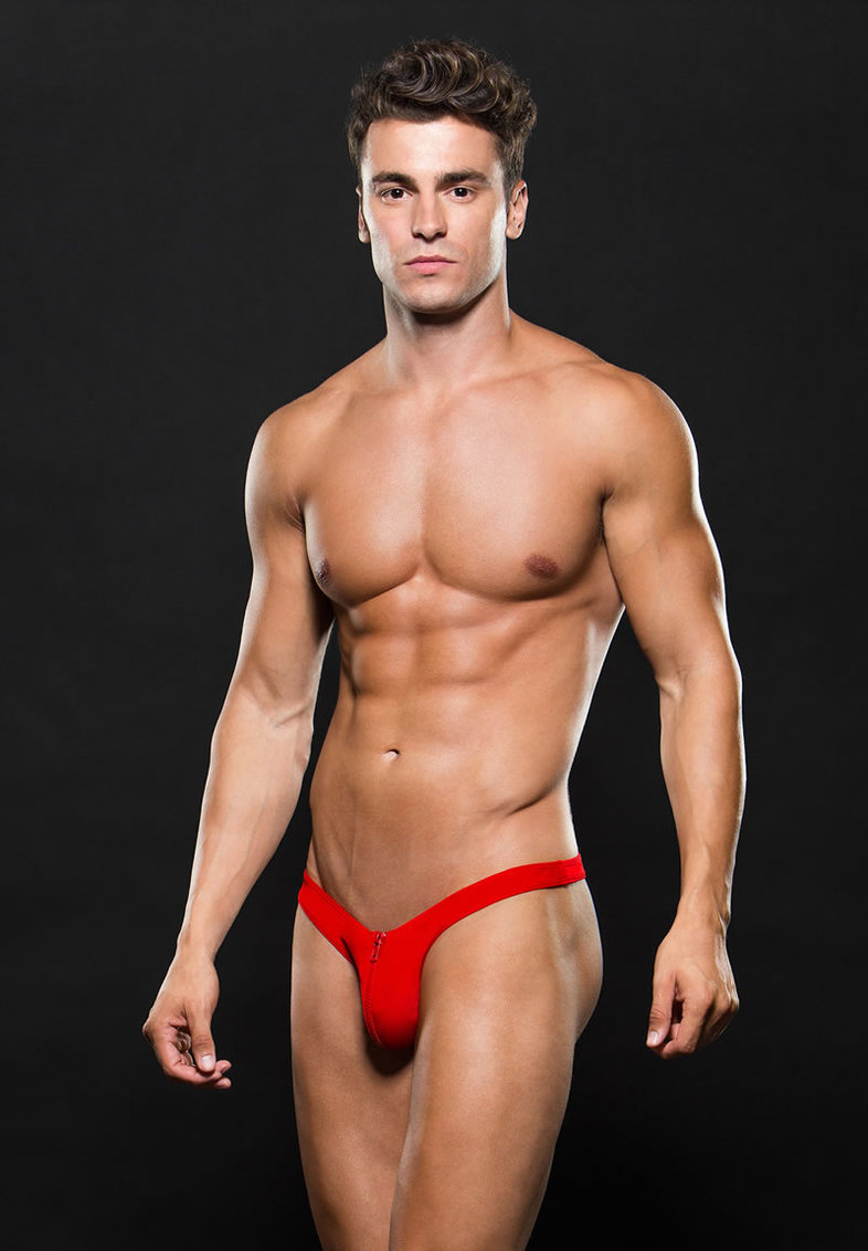 Microfiber Lowrise Zip Thong L/xl Red